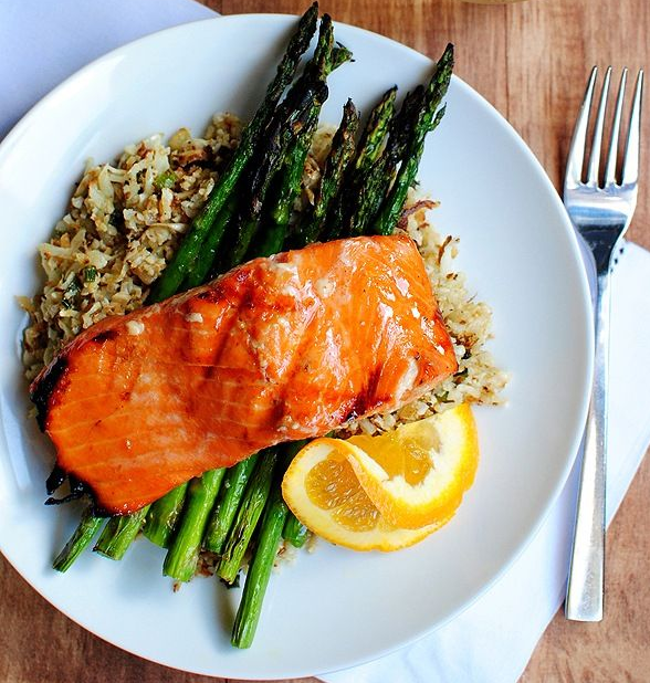 Salmon, Rice and Asparagus